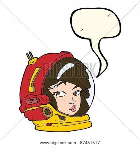 cartoon female astronaut with speech bubble
