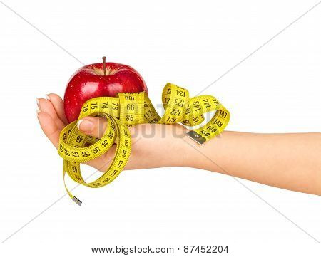 Hand Holding An Apple With A Measuring Tape On A White Background. Concept Of Diet