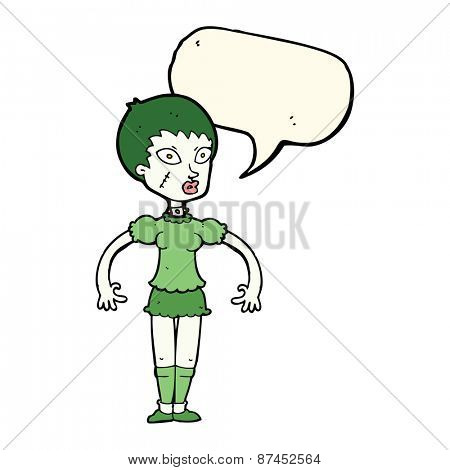 cartoon zombie monster woman with speech bubble