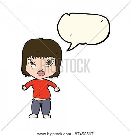 cartoon overweight woman with speech bubble