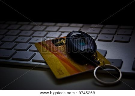 Credit Card and Security Token on Computer Keyboard