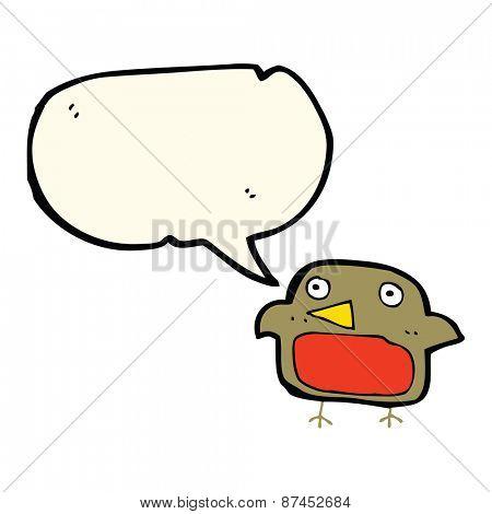 cartoon robin with speech bubble