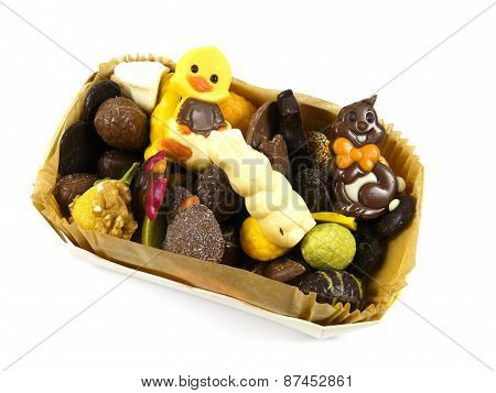 A box with Easter chocolate