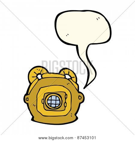 cartoon old deep sea diver helmet with speech bubble