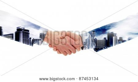 Double exposure handshake over a Bangkok city background.