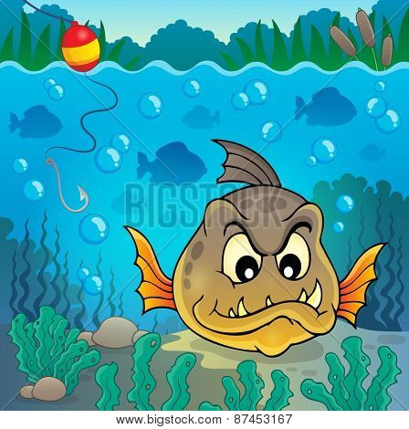 Piranha fish underwater theme 4 - eps10 vector illustration.