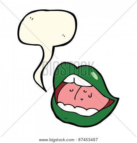 cartoon halloween mouth with speech bubble