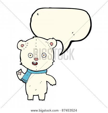 cartoon waving polar bear cub with scarf with speech bubble