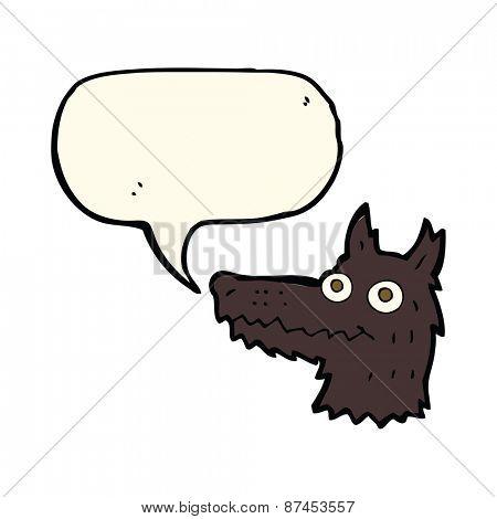 cartoon wolf head with speech bubble