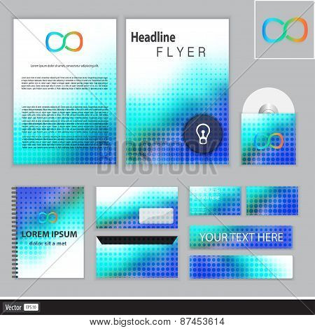 Vector Corporate Identity Templates With Blurred Abstract Background. Creative Design For Company.