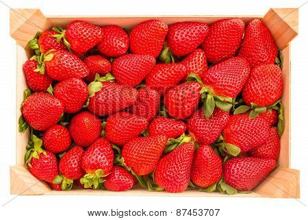 Top view of strawberries box isolated on white background