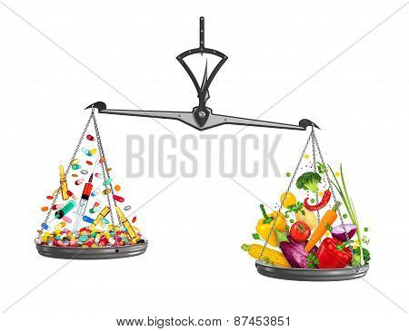 Concept Of Healthy Lifestyle. Fresh Vegetables Against Medical Tablets And Ampoules On The Scales On