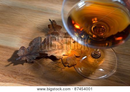 Brandy And Dried Oak Leaves
