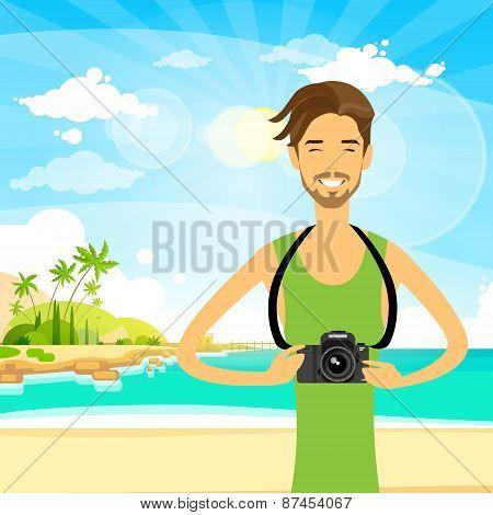 Man tourist photo camera summer travel vacation sea