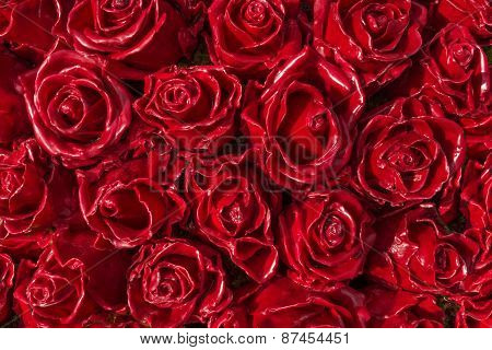Red roses made of wax