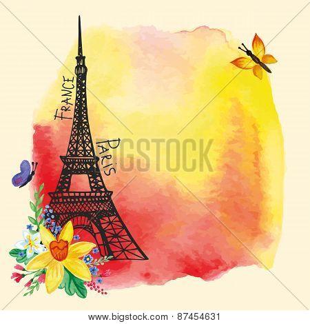 Eiffel tower,Watercolor stain,Narcissus bouquet.Paris card