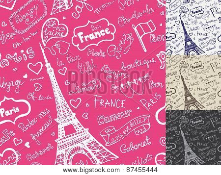 Paris symbols,lettering seamless pattern.Hand drawn  sketchy doo