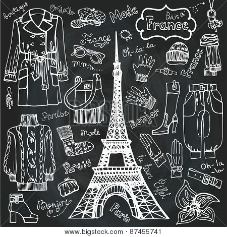 Paris style.Fashion clothing set.Outline Sketchy.Chalkboard