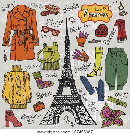 Paris style.Fashion clothing set.Colored Sketch