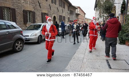 People Dress As Santa Play In Milan, Italy
