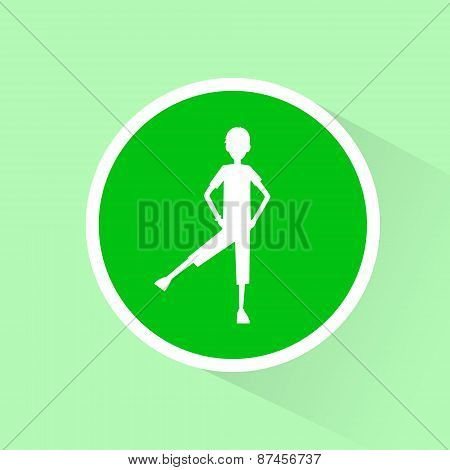 sport fitness man exercise workout green flat icon