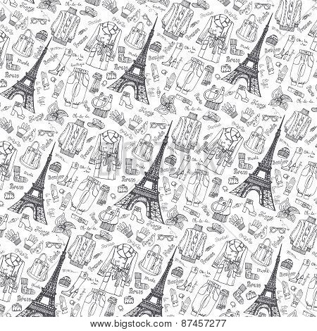 Paris Fashion.Clothing pattern background.Doodle sketchy