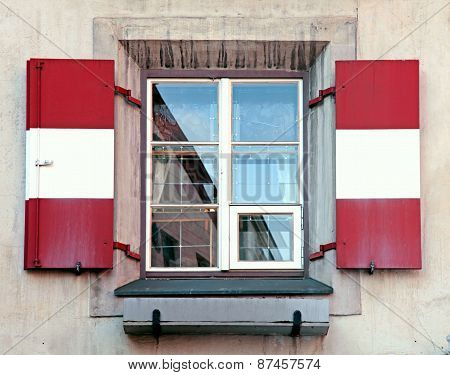 Window With Red And White Shutters, Innsbruck, Austria