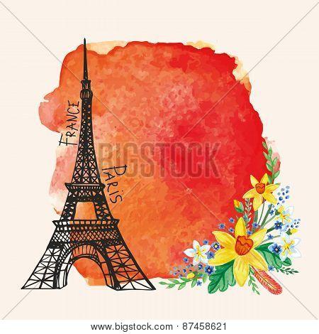 Paris card.Eiffel tower,Watercolor Narcissus bouquet,spot