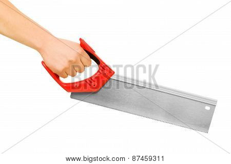 Hand With Saw. Isolated On White