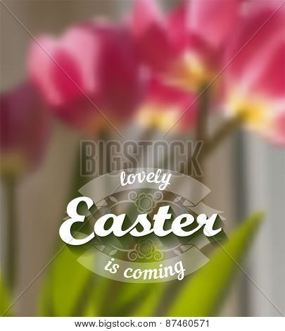 Spring blurred vector background with pink tulips.