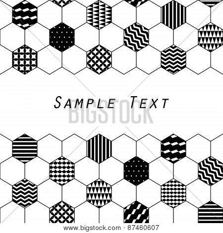 Black and white textured hexagon honeycomb geometric background, vector