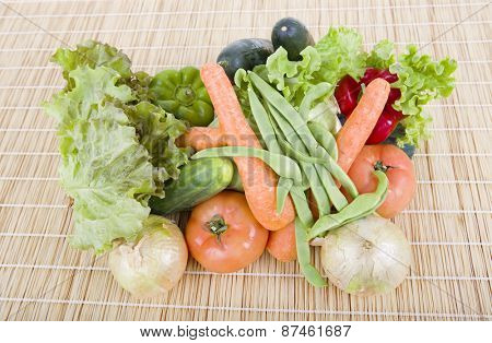 Fresh vegetables on wooden table