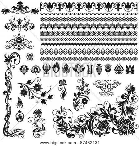 Calligraphic ornaments, borders, vignettes