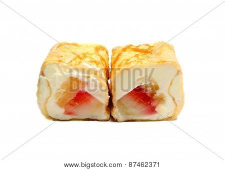 Sweet Sushi With Pineaplle, Strawberries And Cheese