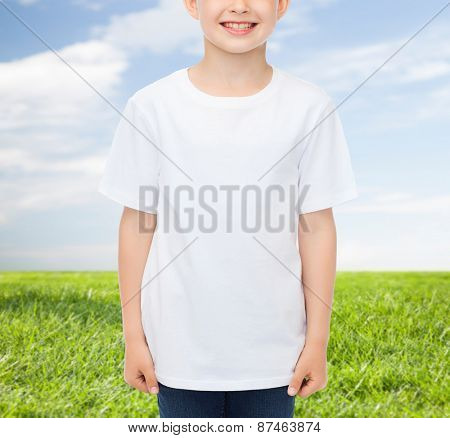 advertising, people, childhood and t-shirt design concept - smiling little boy in white blank t-shirt over blue sky and grass background