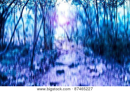 Blurred Abstract Background Photo Of Forest With Surrial Motion Blur Effect