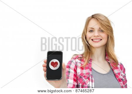 heart against woman showing a mobile phone