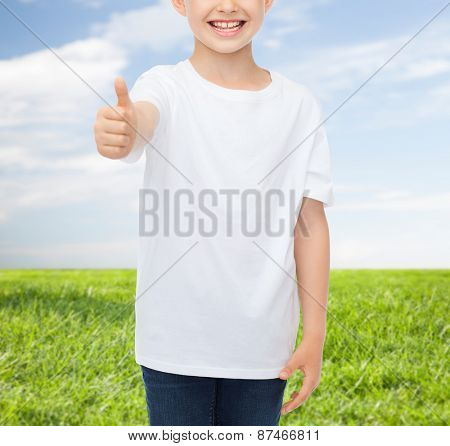 advertising, people and childhood concept - close up of smiling little boy in white blank t-shirt showing thumbs up over blue sky and grass background