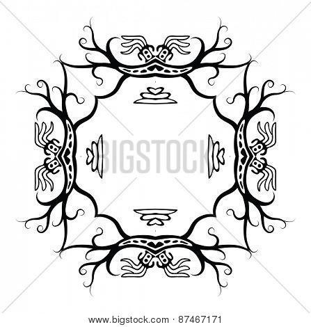 Black frame in native style with dragons, vector illustration