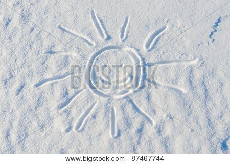 Smiling Sun Drawn On The Surface Of The Snow In The Winter