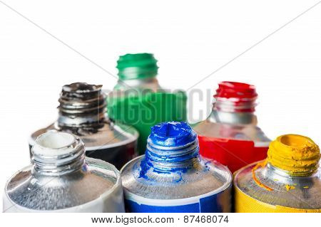 Open Tubes Of Paint For Painting Isolated