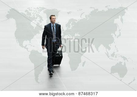 Business Man Walking On The World Map, International Travel Concept