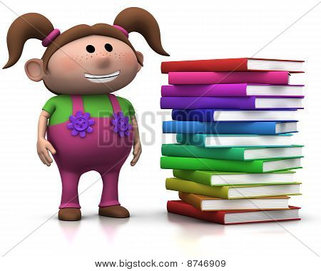 Girl Wit Stack Of Books