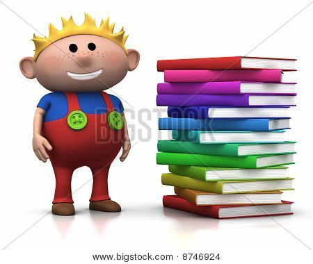 Boy Wit Stack Of Books