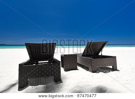 Beach Beds On Tropical Coastline