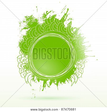 Eco Green Ink Drawing Splash Elements Label