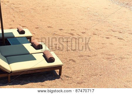Canvas chairs on the beach