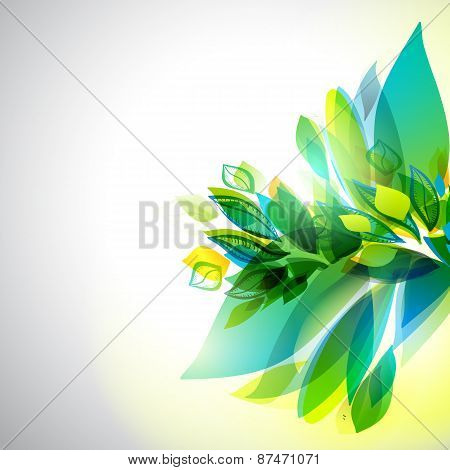 Spring Timer Right Oriented Leaves Background