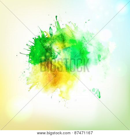 Abstract Form Watercolor Spalsh At Sky Background
