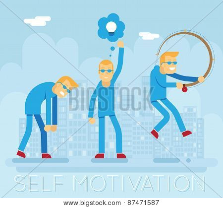 Hipster Characters Self Motivation Concept Urban Landscape City Street Background Creative Flat Desi